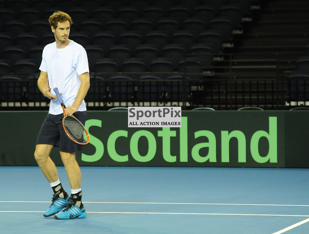 Andy Murray warms up during the Great Britain v Australia, Semi Finals,  Aegeon Davis Cup by BNP Paribas, Friday 18 September 2015 (c) Angie Isac | SportPix.org.uk