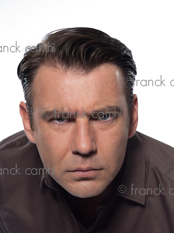 man portrait angry distrust studio isolated on white background