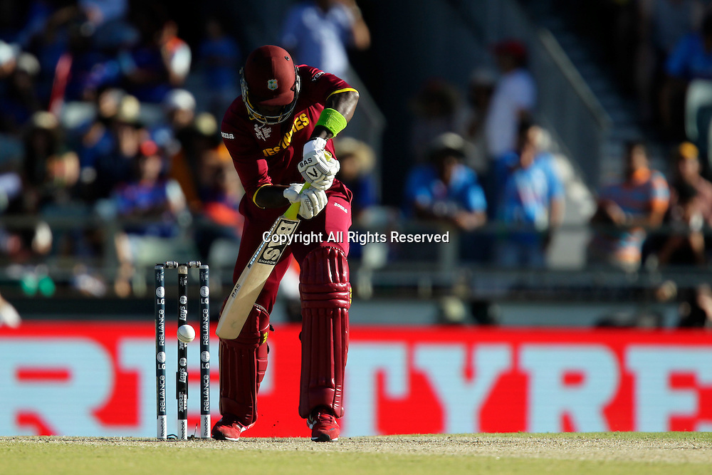 06.03.2015. Perth, Australia. ICC Cricket World Cup. India versus West Indies. Darren Sammy defends during his innings.