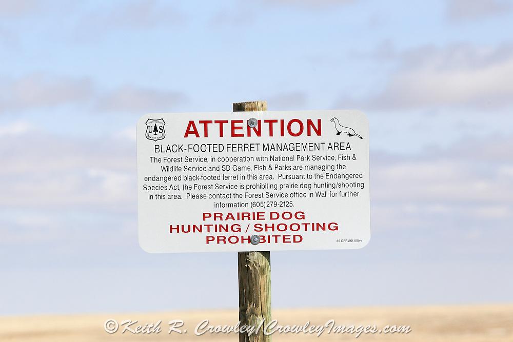 Signs at Buffalo Gap National Grasslands alert visitors to the presence of endangered Black-footed ferrets.