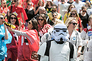 "UNITED KINGDOM, London: 16 May 2015 Thousands of rugby fans make their way to the Marriott London Sevens Rugby tournament at Twickenham Stadium. More than 113,000 fans, most of them in fancy dress, will ascend onto Twickenham for the sporting entertainment. This years fancy dress theme was ""Space"". Rick Findler / Story Picture Agency"