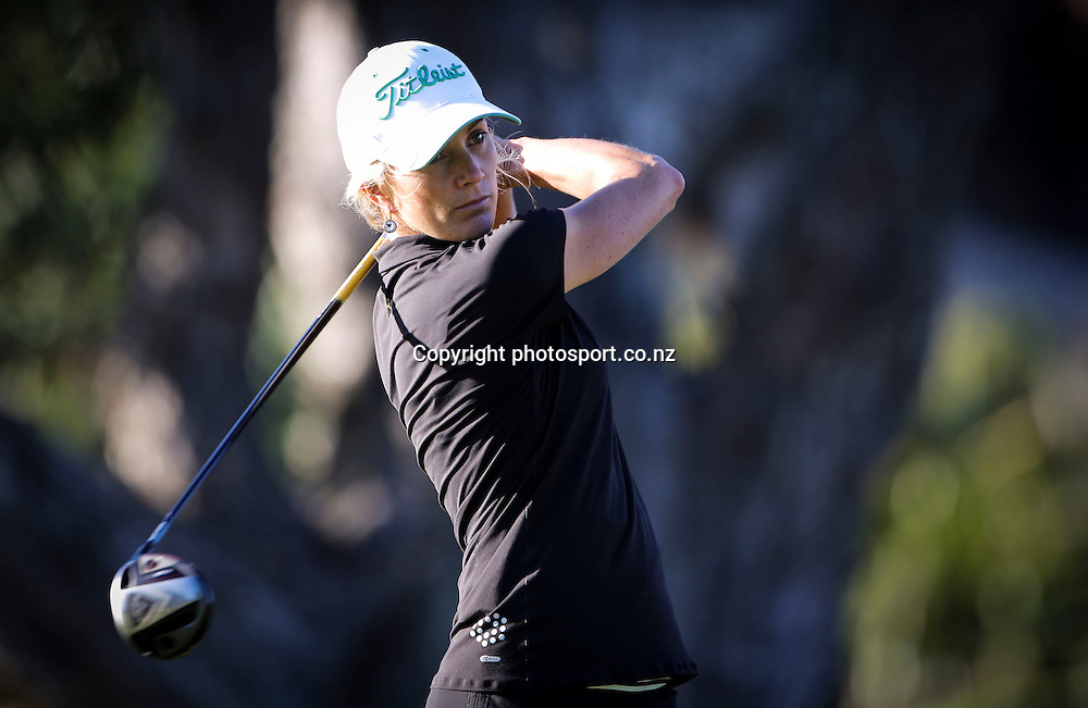 Fleur Reynolds on the first day of the Taranaki Energy Open, New Plymouth Golf Club, New Zealand. Thursday 11 April 2013. Photo: John Cowpland / photosport.co.nz