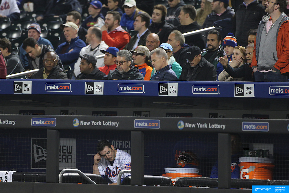 NEW YORK, NEW YORK - MAY 03:  Pitcher Matt Harvey #33 of the New York Mets in the dugout after being pulled from the game in the sixth inning during the Atlanta Braves Vs New York Mets MLB regular season game at Citi Field on May 03, 2016 in New York City. (Photo by Tim Clayton/Corbis via Getty Images)