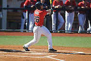 Ole Miss' Stuart Turner (26) drives in a run with a sacrifice fly vs. Rhode Island at Oxford-University Stadium in Oxford, Miss. on Sunday, February 24, 2013. Ole Miss won 5-3 to improve to 7-0.