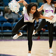 The Lady Bighorn Dancers perform during a quarter break during the NBA G-League Basketball game between the Reno Bighorns and the Oklahoma City Blue at the Reno Events Center in Reno, Nevada.