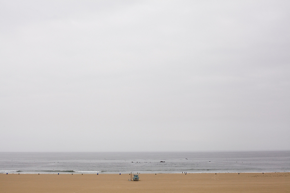 (April 14, 2013 - Santa Monica, California) - Low clouds and early morning fog hung over the beach in Santa Monica.