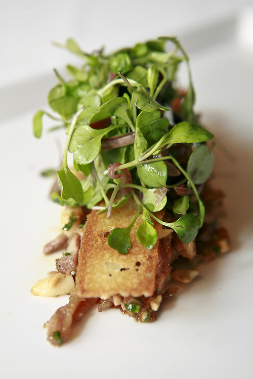 An main dish appointed with micro greens at at PS 7's.