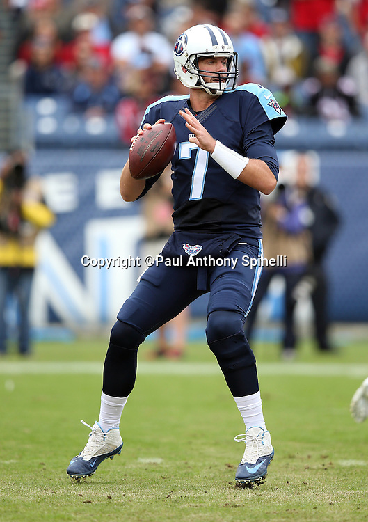 Tennessee Titans quarterback Zach Mettenberger (7) drops back to pass during the 2015 week 7 regular season NFL football game against the Atlanta Falcons on Sunday, Oct. 25, 2015 in Nashville, Tenn. The Falcons won the game 10-7. (©Paul Anthony Spinelli)