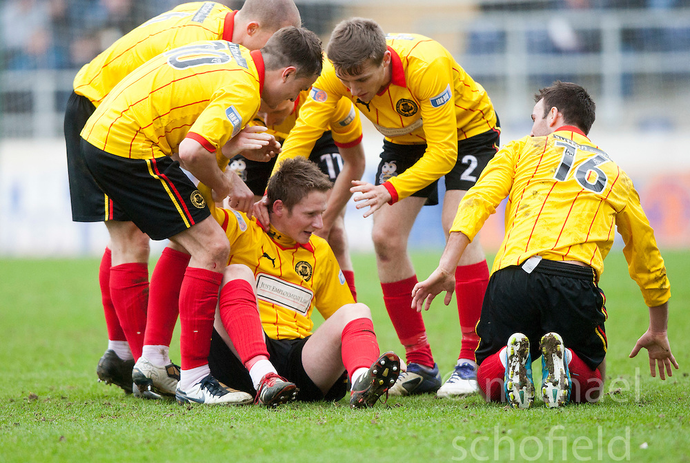 Partick Thistle's Paul Cairney celebrates after scoring their goal..half time, Falkirk v Partick Thistle, 10/3/2012..©Michael Schofield.