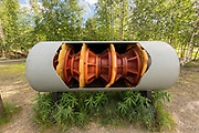 A pipe pig on display at the Alyeska Pipeline Visitors Center  in Fairbanks, Alaska. A pipe pig is a device used to clean and inspect the inside of the 4-foot wide crude oil pipeline that snakes through 800 miles of Alaskan wilderness.