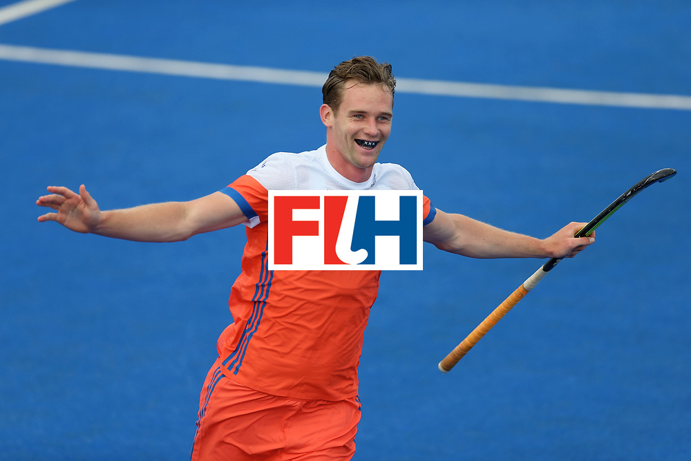 LONDON, ENGLAND - JUNE 25: Mirco Pruijser of the Netherlands celebrates scoring their teams fifth goal during the final match between Argentina and the Netherlands on day nine of the Hero Hockey World League Semi-Final at Lee Valley Hockey and Tennis Centre on June 25, 2017 in London, England. (Photo by Steve Bardens/Getty Images)