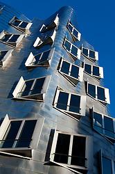 Neuer Zollhof building designed by Frank Gehry in modern property development at Media Harbour or Medienhafen in Dusseldorf Germany