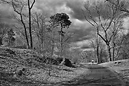 Runner and stormy skies at the North Woods in Central Park