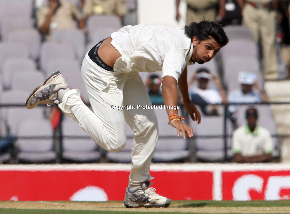 Indian bowler Ishant Sharma has a fall as he bowls during 3rd test match India vs New Zealand  Played at Vidarbha Cricket Association Stadium, Jamtha, Nagpur, 20, November 2010 (5-day match)