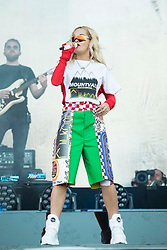 Rita Ora performs on stage during the Isle of Wight festival at Seaclose Park, Newport. Picture date: Friday 22nd June, 2018. Photo credit should read: David Jensen/EMPICS Entertainment