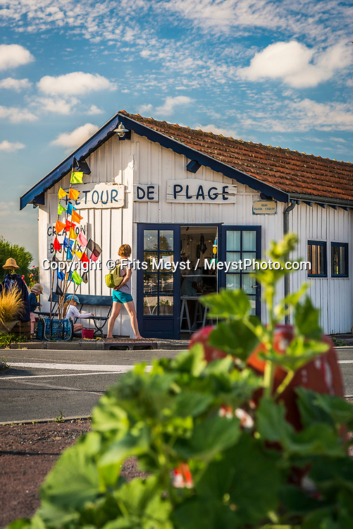 Charente Maritime, France, July 2019. Artists now have their ateliers in the old colourful fishermen shacks of Saint-Trojan-les-Bains. The islands of Ile de Re and Ile d'Oleron are made for relaxation, and light cycling tours along beached, forests, oyster farms and salt pans. Photo by Frits Meyst / MeystPhoto.com