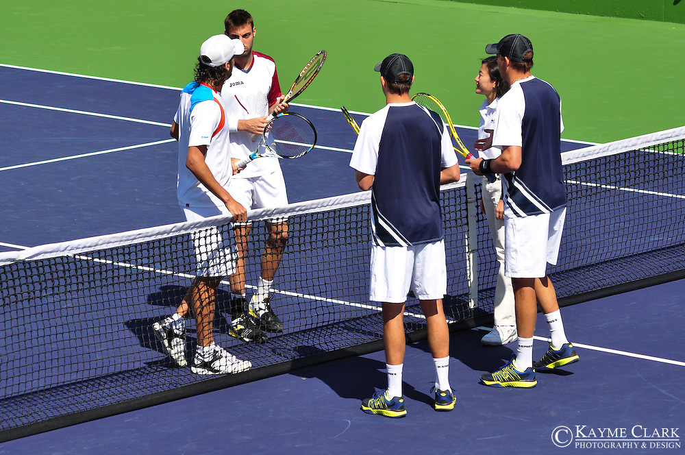 Bob and Mike Bryan versus Feliciano Lopez and Marcel Granollers at the BNP Paribas Open in Indian Wells, California.
