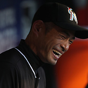 NEW YORK, NEW YORK - APRIL 12: Ichiro Suzuki, Miami Marlins, during his pre game ritual in the dugout before the Miami Marlins Vs New York Mets MLB regular season ball game at Citi Field on April 12, 2016 in New York City. (Photo by Tim Clayton/Corbis via Getty Images)