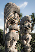 Tikis (ki'i) at Pu'uhonua O Honaunau (City of Refuge) National Historic Park, Kona Coast, Hawaii USA