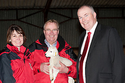 Pictured is, from left, Rand Farm Park owners Kay and Richard Waring and Clydesdale Bank commercial relationship manager Michael Pickles with a new born lamb<br /> <br /> Clydesdale Bank - Rand Farm Park<br /> <br /> March 27, 2015