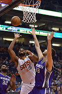 Mar 15, 2017; Phoenix, AZ, USA; Phoenix Suns forward Alan Williams (15) shoots the ball in front of Sacramento Kings center Georgios Papagiannis (13) in the first half at Talking Stick Resort Arena. Mandatory Credit: Jennifer Stewart-USA TODAY Sports