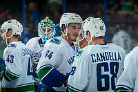 PENTICTON, CANADA - SEPTEMBER 8: Zack MacEwan #64 congratulates Cole Candella #68 of Vancouver Canucks on the win against the Winnipeg Jets on September 8, 2017 at the South Okanagan Event Centre in Penticton, British Columbia, Canada.  (Photo by Marissa Baecker/Shoot the Breeze)  *** Local Caption ***