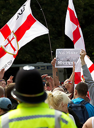 © licensed to London News Pictures. Cambridge, UK  09/07/2011. The English Defence League march in Cambridge. Please see special instructions for usage rates. Photo credit should read Joel Goodman/LNP