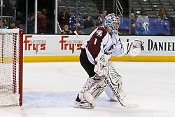 Dec 15, 2011; San Jose, CA, USA; Colorado Avalanche goalie Semyon Varlamov (1) warms up before the game against the San Jose Sharks at HP Pavilion.  Mandatory Credit: Jason O. Watson-US PRESSWIRE