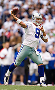 DALLAS, TX - JANUARY 13:   Tony Romo #9 of the Dallas Cowboys throws a pass against the New York Giants during the NFC Divisional playoff at Texas Stadium on January 13, 2008 in Dallas, Texas.  The Giants defeated the Cowboys 21-17.  (Photo by Wesley Hitt/Getty Images) *** Local Caption *** Tony Romo Sports photography by Wesley Hitt photography with images from the NFL, NCAA and Arkansas Razorbacks.  Hitt photography in based in Fayetteville, Arkansas where he shoots Commercial Photography, Editorial Photography, Advertising Photography, Stock Photography and People Photography