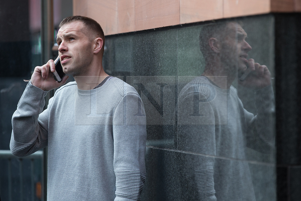"© Licensed to London News Pictures . 18/03/2015 . Manchester , UK . LIAM GARY EDWARDS (29) outside Manchester and Salford Magistrates Court this morning (18th March 2015). Edwards is charged with Causing Racially or Religiously Aggravated Criminal Damage . On 18th February 2015 , stickers reading "" Beware! Halal is barbaric and funds terrorism "" were discovered on products and displays in Sainsbury's supermarket , on Regent Road in Salford . Photo credit : Joel Goodman/LNP"