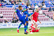 Wigan Athletic defender Nathan Byrne clears the ball during the EFL Sky Bet Championship match between Wigan Athletic and Charlton Athletic at the DW Stadium, Wigan, England on 21 September 2019.