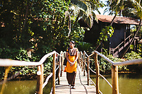 A bridge crossing at the Ashiyana Yoga Retreat in Goa, India.