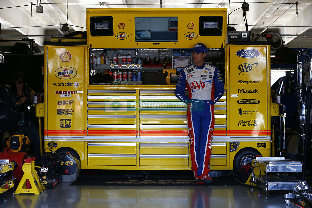 November 2, 2018 - Ft. Worth, Texas, United States of America - Joey Logano (22) hangs out in the garage during practice for the AAA Texas 500 at Texas Motor Speedway in Ft. Worth, Texas. (Credit Image: © Justin R. Noe Asp Inc/ASP via ZUMA Wire)