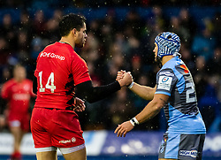 Sean Maitland of Saracens and Matthew Morgan of Cardiff Blues hake hands after the final whistle <br /> <br /> Photographer Simon King/Replay Images<br /> <br /> European Rugby Champions Cup Round 4 - Cardiff Blues v Saracens - Saturday 15th December 2018 - Cardiff Arms Park - Cardiff<br /> <br /> World Copyright © Replay Images . All rights reserved. info@replayimages.co.uk - http://replayimages.co.uk