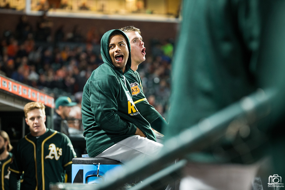 Oakland Athletics players hang out in the dugout during a preseason MLB game against the San Francisco Giants at AT&T Park in San Francisco, California, on March 30, 2017. (Stan Olszewski/Special to S.F. Examiner)