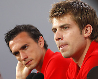 GEPA-1706081336 - STEGERSBACH,AUSTRIA,17.JUN.08 - FUSSBALL - UEFA Europameisterschaft, EURO 2008, Nationalteam Oesterreich, Pressekonferenz. Bild zeigt Andreas Ivanschitz und Martin Stranzl (AUT).<br />