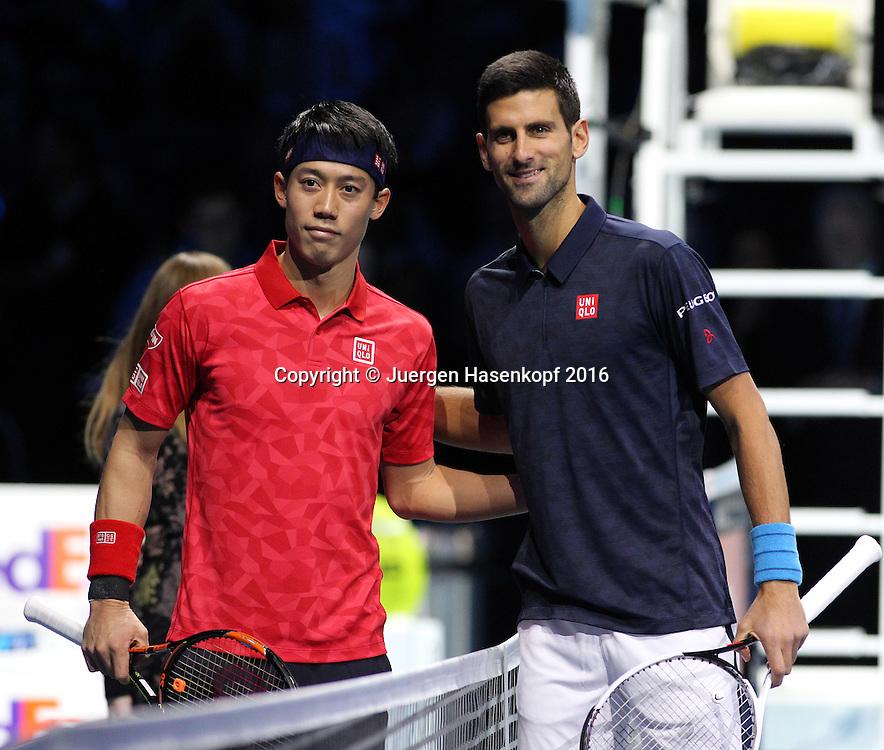 NOVAK DJOKOVIC (SRB) und KEI NISHIKORI (JPN), ATP World Tour Finals, O2 Arena, London, England.<br /> <br /> Tennis - ATP World Tour Finals 2016 - ATP -  O2 Arena - London -  - Great Britain  - 19 November 2016. <br /> &copy; Juergen Hasenkopf/Grieves