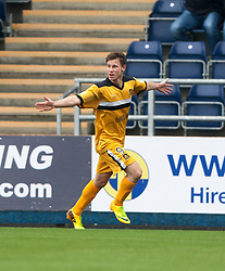 Dumbarton's Mitchell Megginson cele scoring their second goal.<br /> Half time : Falkirk 1 v 2 Dumbarton, Scottish Championship game played today at the Falkirk Stadium.<br /> &copy;Michael Schofield.