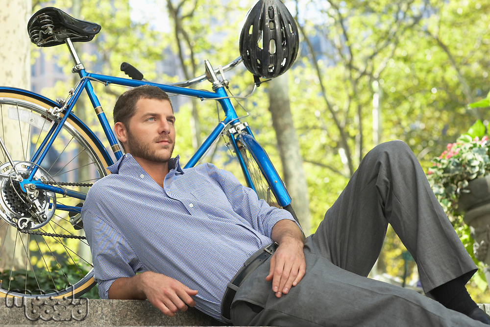 Man relaxing in park