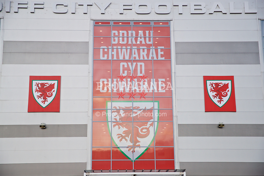 CARDIFF, WALES - Sunday, October 13, 2019: Branding on the exterior of the Cardiff City Stadium before the UEFA Euro 2020 Qualifying Group E match between Wales and Croatia. (Pic by Laura Malkin/Propaganda)