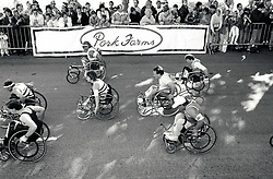 Wheelchair race, Robin Hood marathon, Nottingham UK 1987