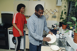 Couple standing in kitchen with man doing washing up,
