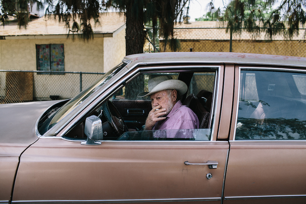 Red Simspon, a country music legend and Bakersfield, California native, smokes a cigarette outside of the Rasmussen Senior Center in Oildale, north of Bakersfield. Simpson is a founder of the Bakersfield Sound, a honky tonk style of country music recognized in the music of Buck Owens and Merle Haggard. Simpson plays music every Tuesday morning at the senior center.