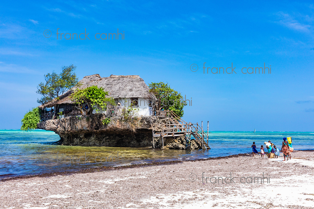 Pingwe , Zanzibar-March 7, 2019 : the Rock famous amazing location restaurant on the beach