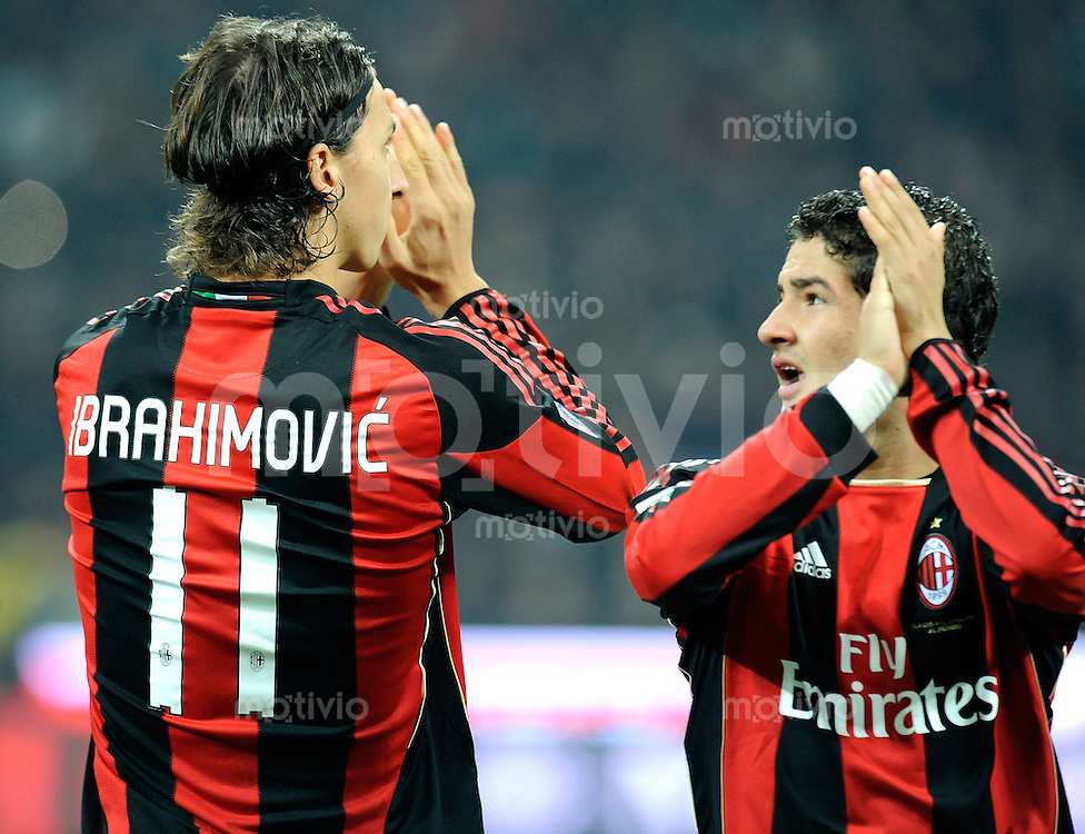 FUSSBALL INTERNATIONAL   SERIE A   SAISON 2010/2011    AC Mailand - Juventus Turin     30.10.2010 Zlatan Ibrahimovic, Pato (v. li., AC Mailand)