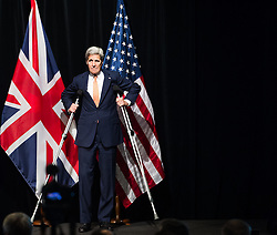 14.07.2015, Austria Center, Wien, AUT, Einigung bei E3/ EU+3 - Iran Gespraeche (Frankreich, Deutschland, Vereinigtes Koenigreich, China, Russland und USA), im Bild Aussenminister der USA John Kerry // State Secretary of America John Kerry during aggreement of P5+1 - Iran Talks (France, Germany, United Kingdom, China, Russia and USA) at Austria Centre in Vienna, Austria on 2015/07/14, EXPA Pictures © 2015, PhotoCredit: EXPA/ Michael Gruber