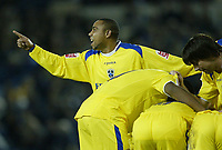 Photo: Aidan Ellis.<br /> Sheffield Wednesday v Cardiff City. Coca Cola Championship. 09/11/2005.<br /> Cardiff's Jeff Whitley shows his delight as injured goal scorer Jason Koumas is tended to by team mates after the first goal