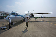 Dien Bien Phu airport. Vietnam Airlines ATR 72 ready for boarding to Hanoi.