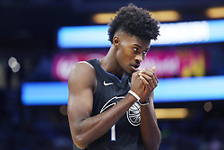 November 14, 2018 - Orlando, FL, USA - The Orlando Magic's Jonathan Isaac comes in to play against the Philadelphia 76ers at the Amway Center in Orlando, Fla., on Wednesday, Nov. 14, 2018. (Credit Image: © Stephen M. Dowell/Orlando Sentinel/TNS via ZUMA Wire)