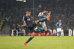 October 21, 2017 - Napoli, Napoli, Italy - Naples - Italy 21/10/2017.DRIES MERTENS of  S.S.C. NAPOLI   and JOAO MIRANDA of  Inter  fights for the ball during Serie A  match between S.S.C. NAPOLI and Inter  at Stadio San Paolo of Naples. (Credit Image: © Emanuele Sessa/Pacific Press via ZUMA Wire)